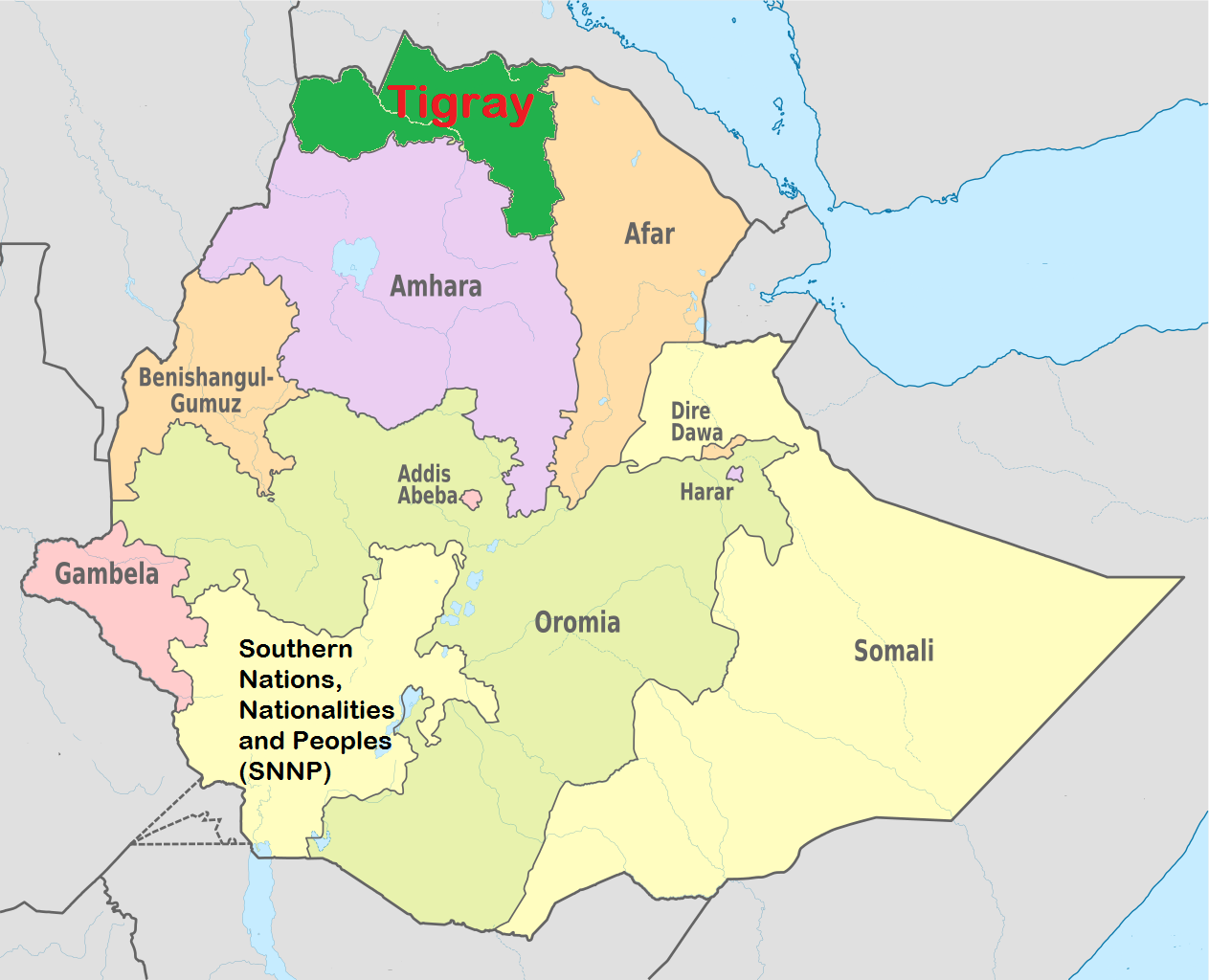 Map of Ethiopia, Tigray Region highlighted in Green - YWCA of ...